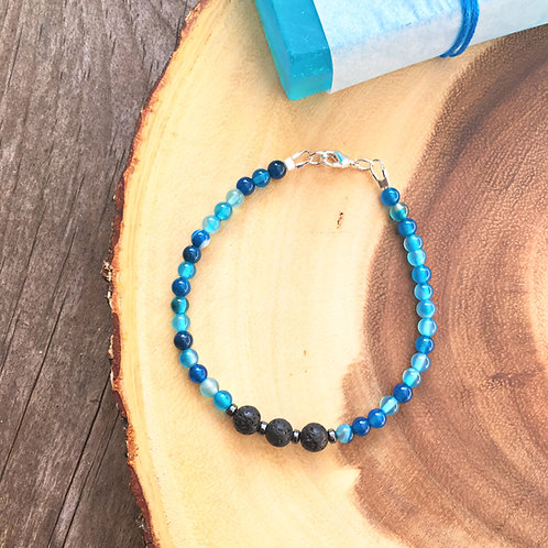 Aromatherapy Blue Agate Healing Bracelet