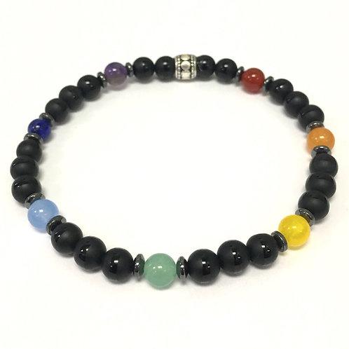 """Align your Chakras"" Black Lava Bracelet"