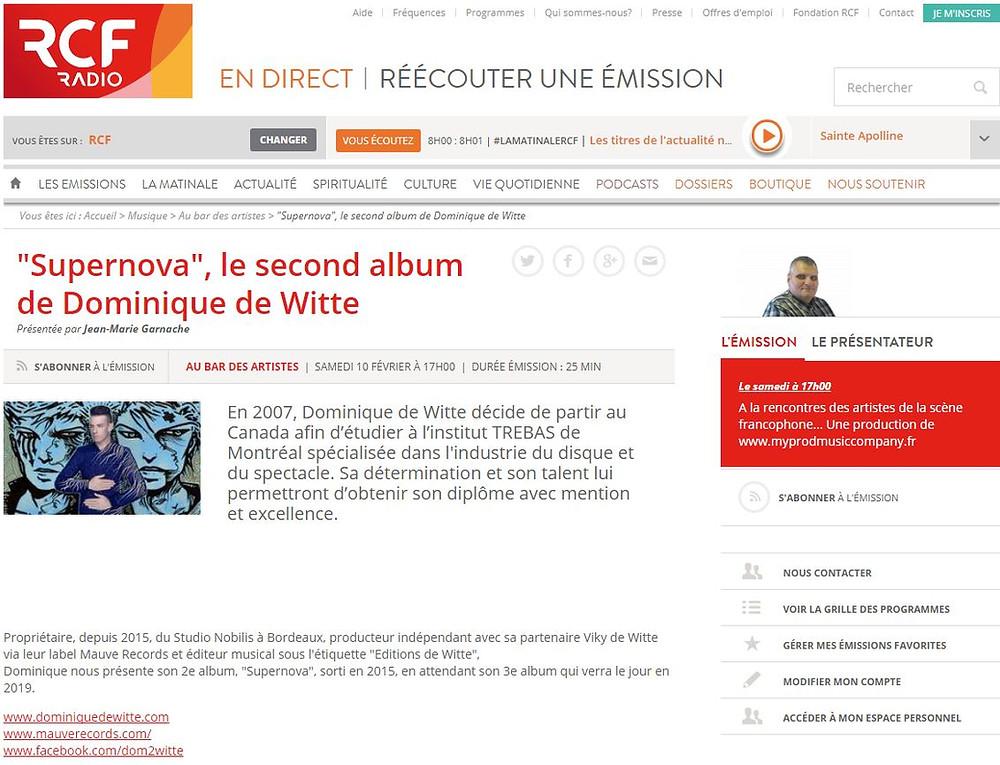 Dominique de Witte - Interview sur RCF