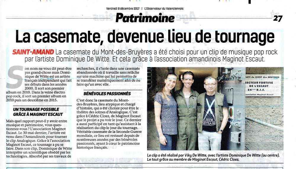 Dominique de Witte - PRESSE - L'observateur du Valenciennois - Vidéoclip ANALOGIQUE- 08.12.2017