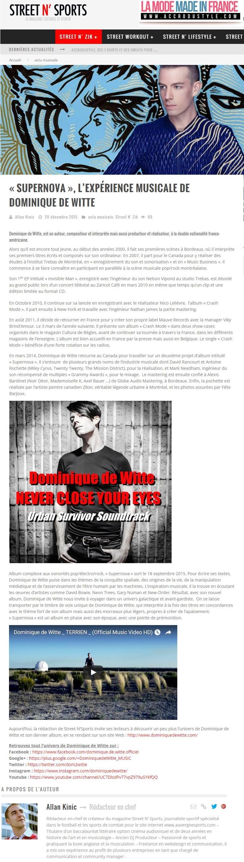 Dominique de Witte - Magazine STREET N' SPORTS - PRESSE - 20 décembre 2015 - SUPERNOVA