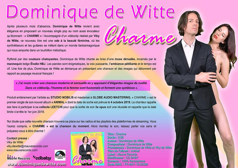 Dominique de Witte - Communiqué de presse - CHARME - SINGLE - 19 avril 2019
