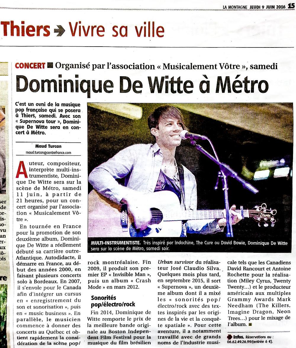 Dominique de Witte - PRESSE - Journal LA MONTAGNE (Thiers et d'Ambert  Auvergne) - 9 juin 2016 FRANCE - SUPERNOVA TOUR