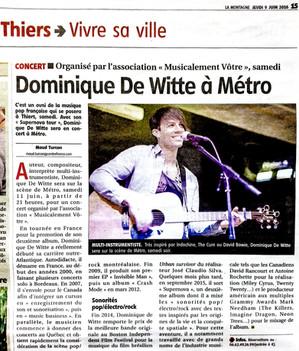 PRESSE - journal LA MONTAGNE - 9 juin 2016