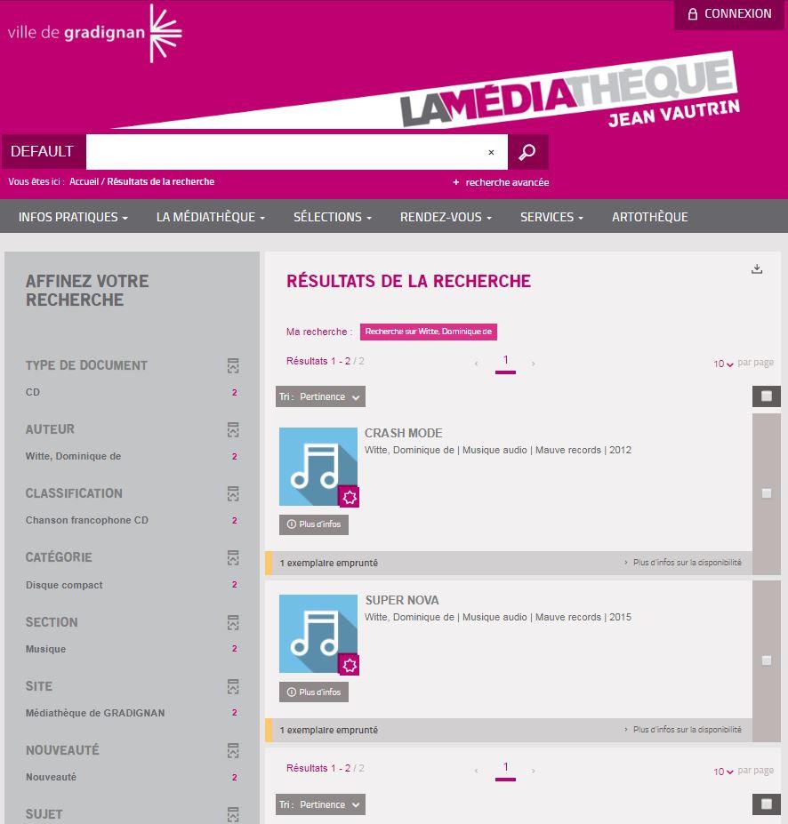 Dominique de Witte - Albums CRASH MODE et SUPERNOVA - Médiathèque Jean Vautrin - Website - 33170 GRADIGNAN - POP ROCK MUSIQUE
