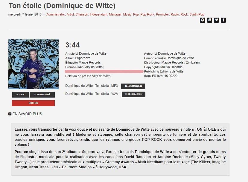 Dominique de Witte - SINGLE - Ton étoile - 45tours.ca - Québec Canada