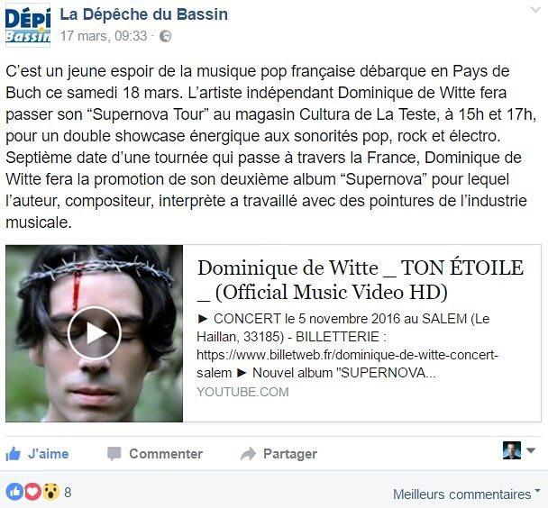 Dominique de Witte - LA DEPECHE DU BASSIN - 17.03.2017 -SUPERNOVA TOUR - PRESSE