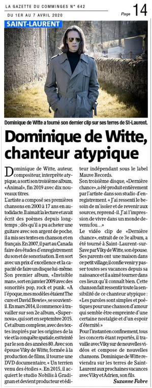 PRESSE - La Gazette du Comminges - 01/04/2020