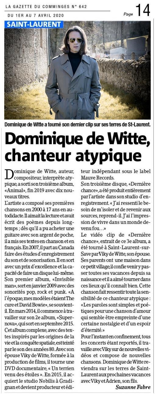 Dominique de Witte - La Gazette du Comminges - 3e album ANIMAL - Vidéoclip Dernière Chance - PRESSE - 1er avril 2020