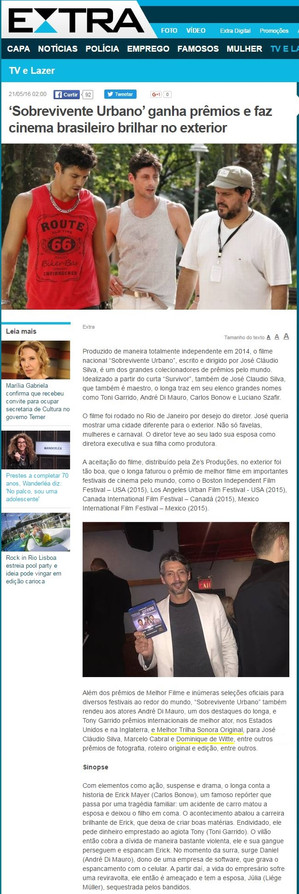 PRESSE - Journal EXTRA - Brésil - 21/05/2016
