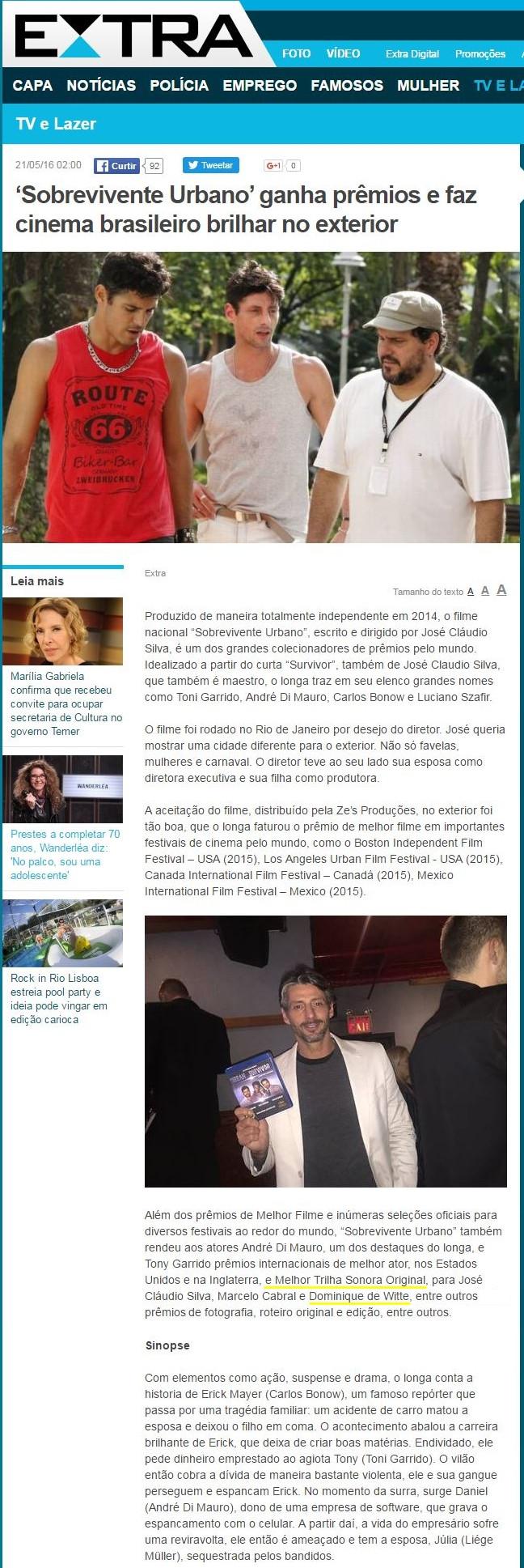 Dominique de Witte / Sobrevivente Urbano - Journal EXTRA - 21 mai 2016 - Brésil