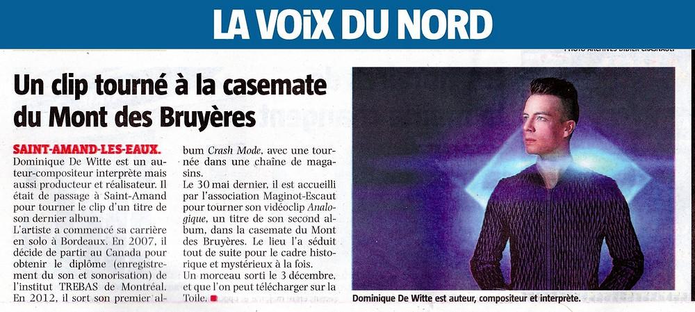 Dominique de Witte - Journal papier - LA VOIX DU NORD - PRESSE - Vidéoclip ANALOGIQUE - 14.12.2017