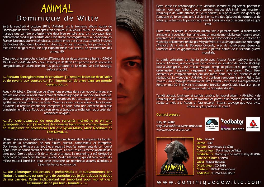 Dominique de Witte - Communiqué de presse - 3e album ANIMAL - 4 octobre 2019 - MAUVE RECORDS