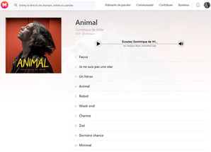 """Les paroles des chansons de mon 3e album """"ANIMAL"""" sur Musixmatch"""