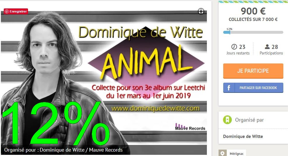 "Dominique de Witte - Collecte LEETCHI - 3e album ""ANIMAL"""