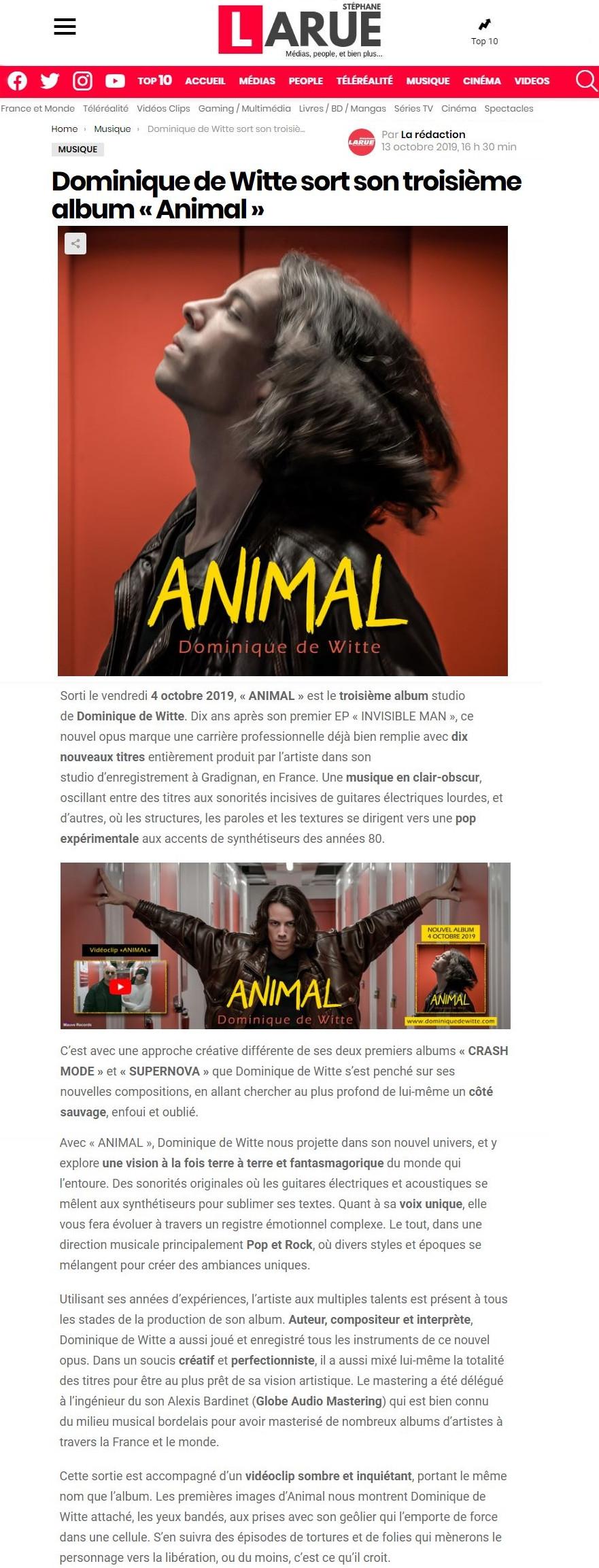 Dominique de Witte - Journaliste People Stéphane Larue - 3e album ANIMAL - 13.10.2019 - PRESSE