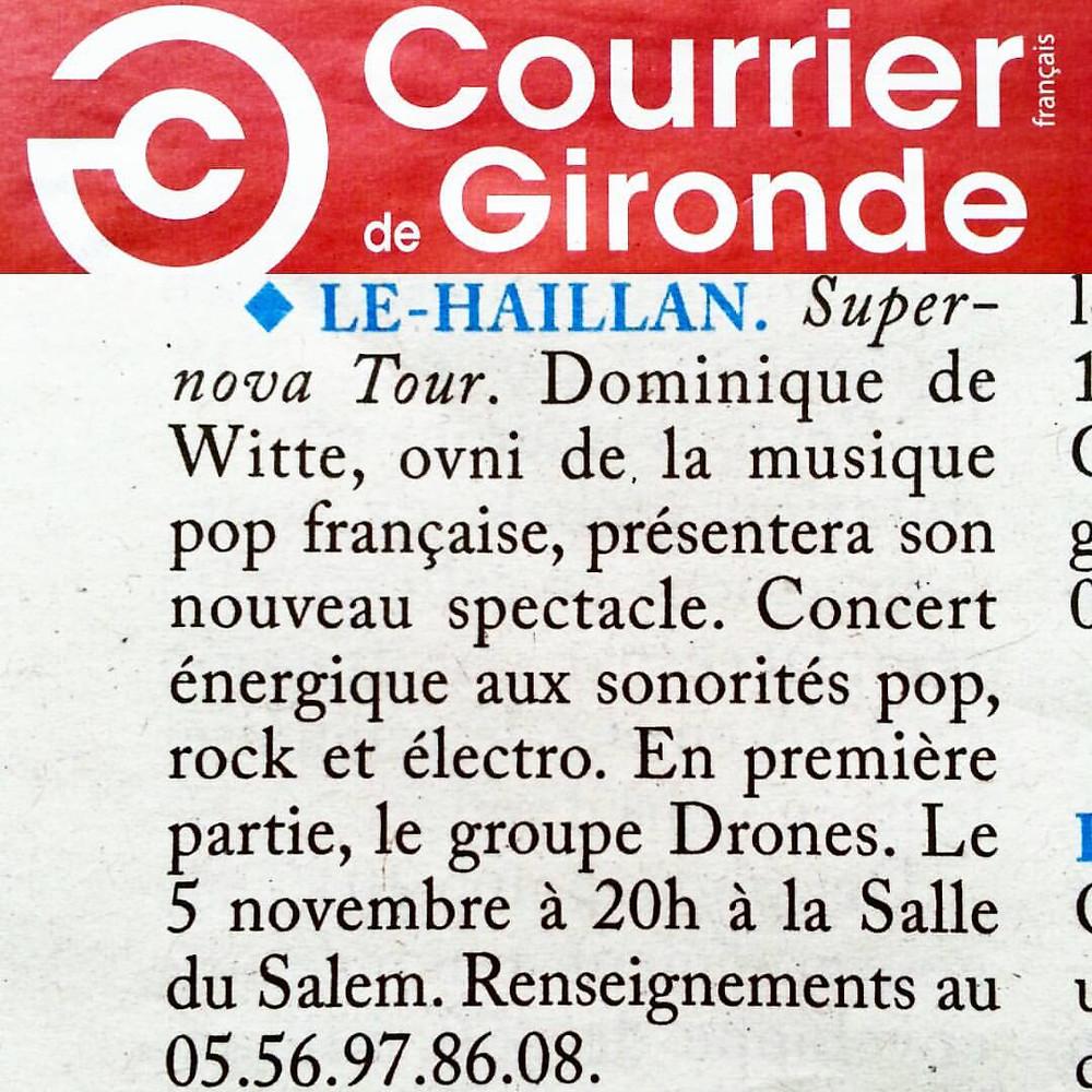 Dominique de Witte - PRESSE - Courrier de Gironde - 28.10.2016 - SUPERNOVA TOUR