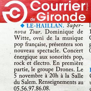 PRESSE - Journal COURRIER DE GIRONDE - 28/10/2016
