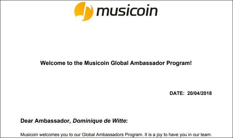 Dominique de Witte - AMBASSADEUR MUSICOIN - $MUSIC - BLOCKCHAIN - CRYPTO MONNAIE
