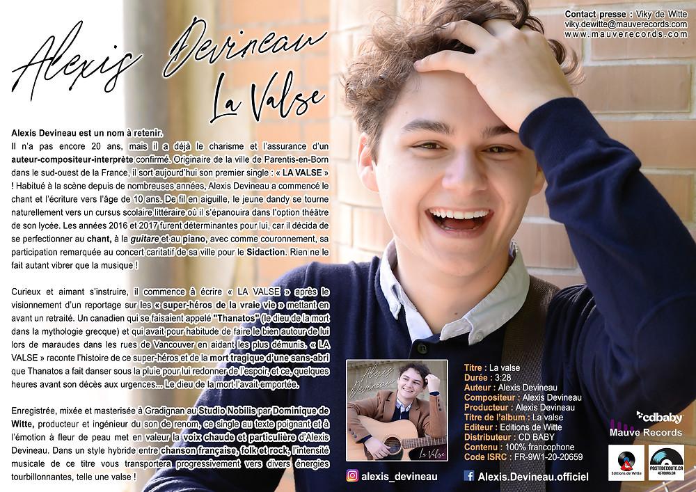 Alexis Devineau - LA VALSE - Single - Communiqué de presse - MAUVE RECORDS - Editions de Witte - Studio Nobilis