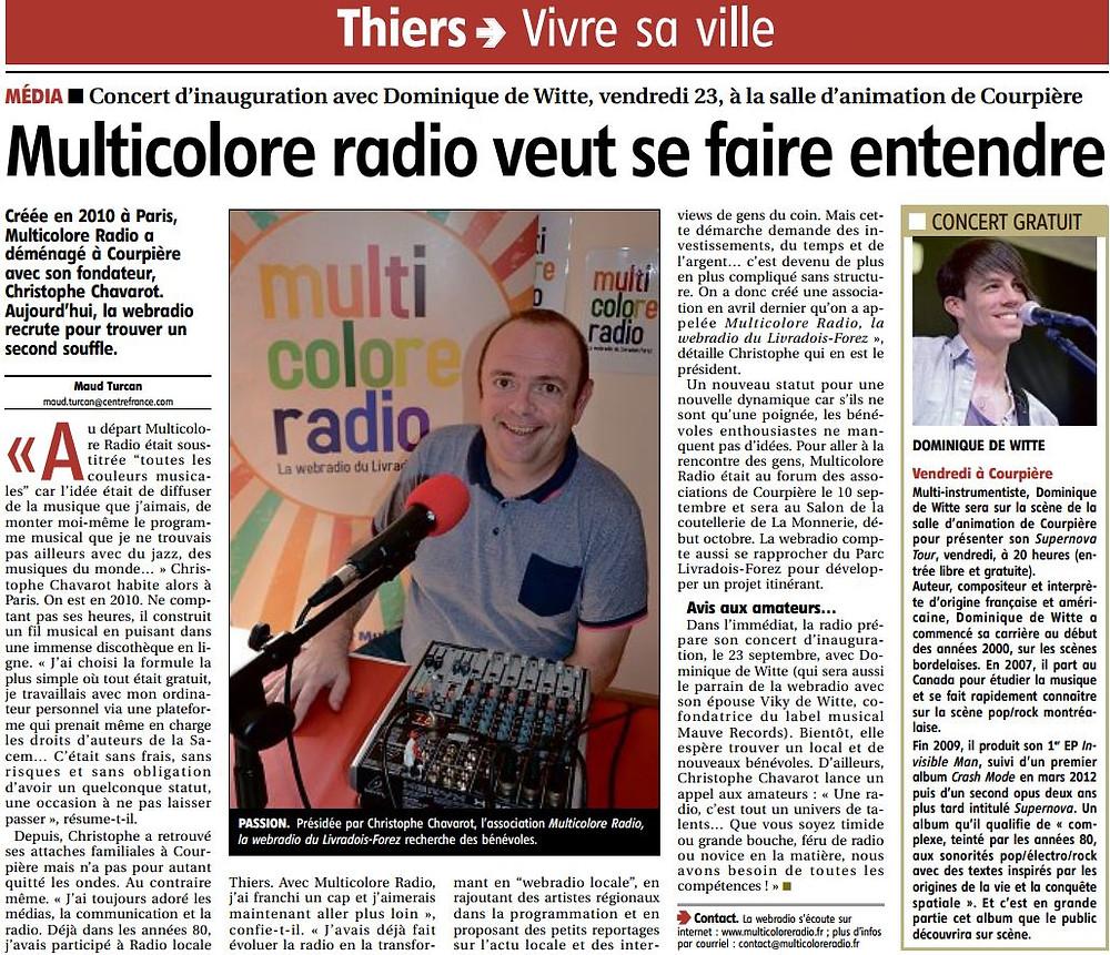 Dominique de Witte - SUPERNOVA TOUR - Multicolore Radio - 19.09.2016 - journal LA MONTAGNE