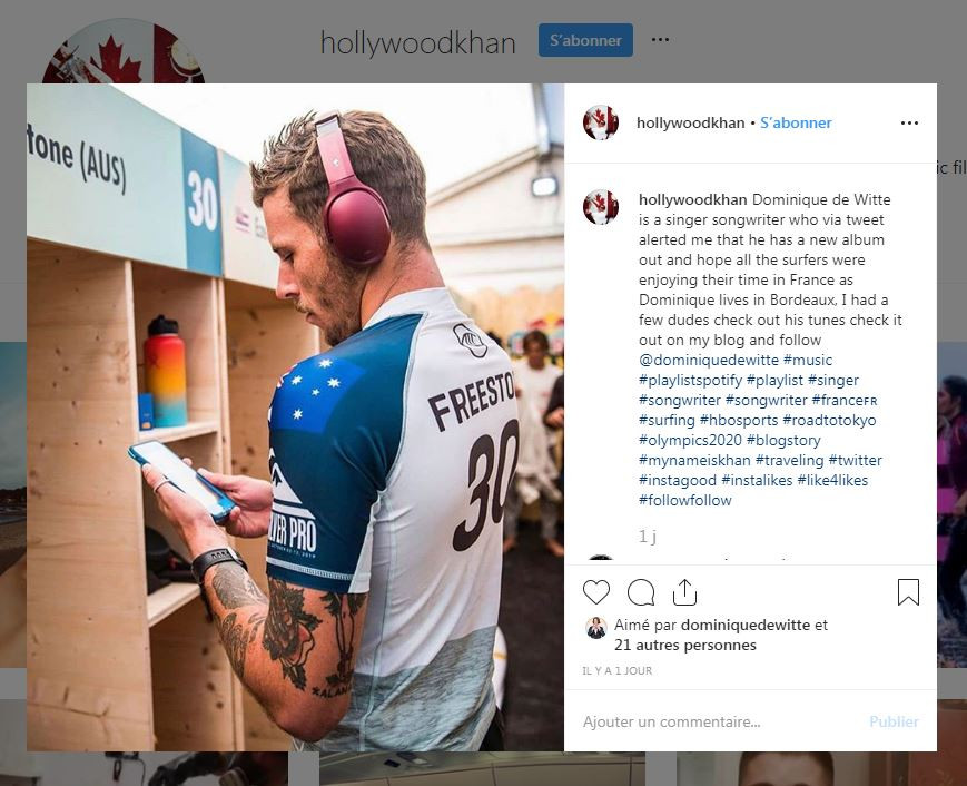 Dominique de Witte - My Name is Hollywood Khan - QUICKSILVER PRO FRANCE 2019 - Surf - PRESSE - 7 Octobre 2019 - 3e album ANIMAL