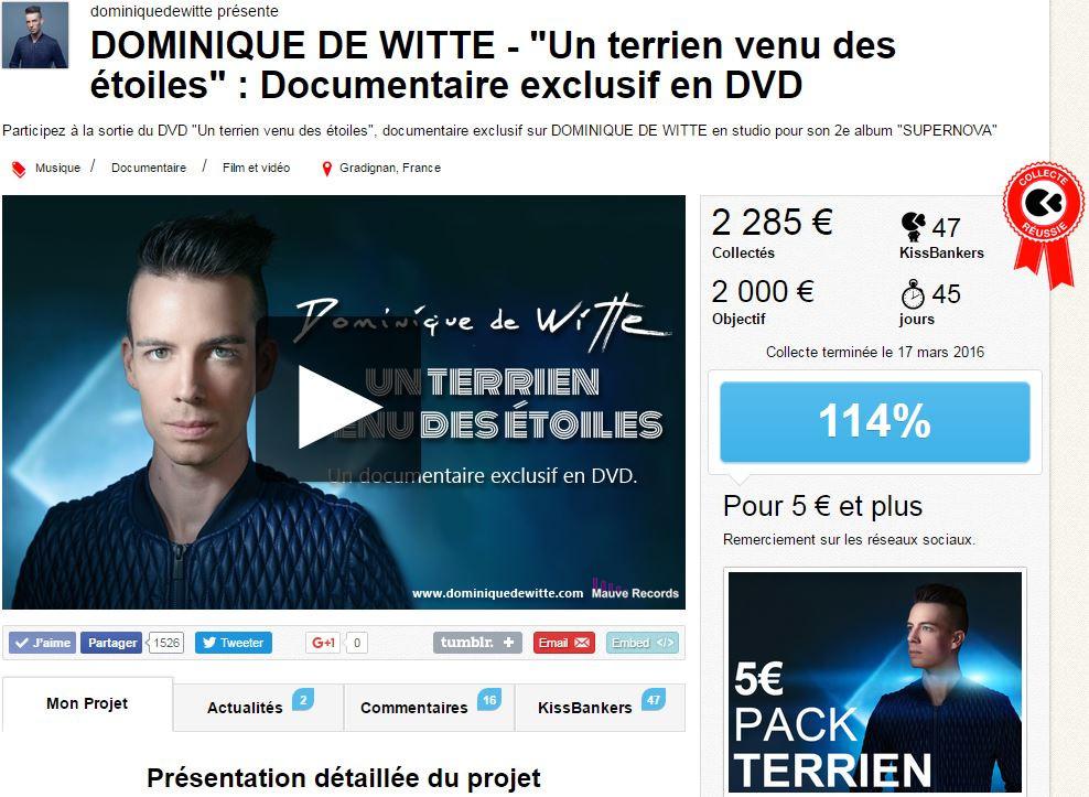Dominique de Witte - DVD un terrien venu des etoiles - KissKissBankBank