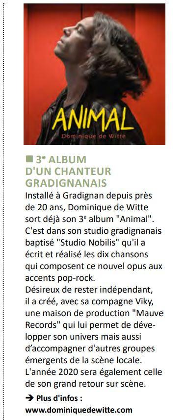 Dominique de Witte - Ensemble Gradignan - Publication municipale - Presse - 3e album ANIMAL - 3 Décembre 2019