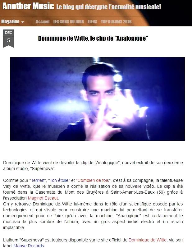 Dominique de Witte - ANOTHER MUSIC BLOG - Vidéoclip ANALOGIQUE - 05.12.2017