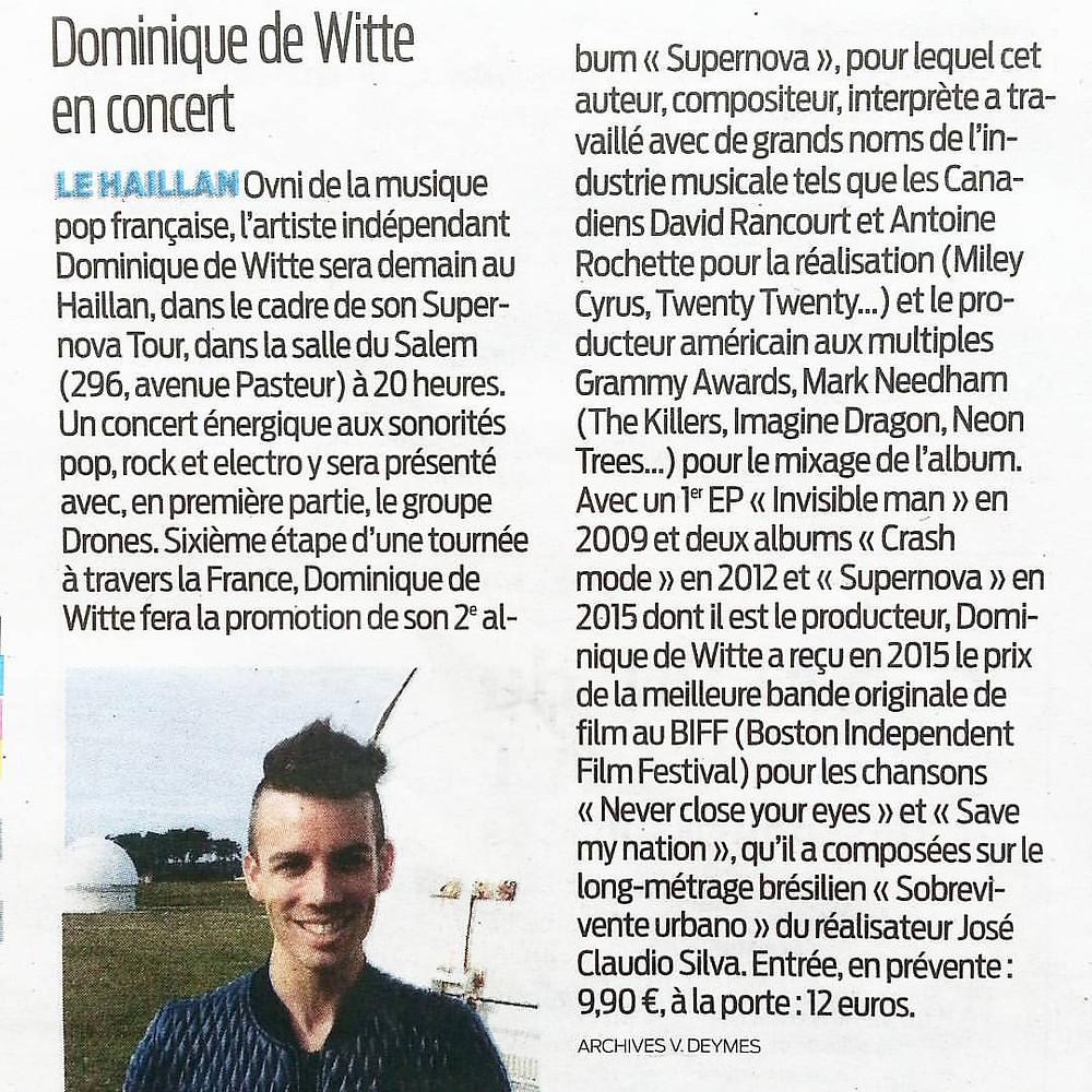 Dominique de Witte - Journal SUD OUEST - 4 novembre 2016 - SUPERNOVA TOUR