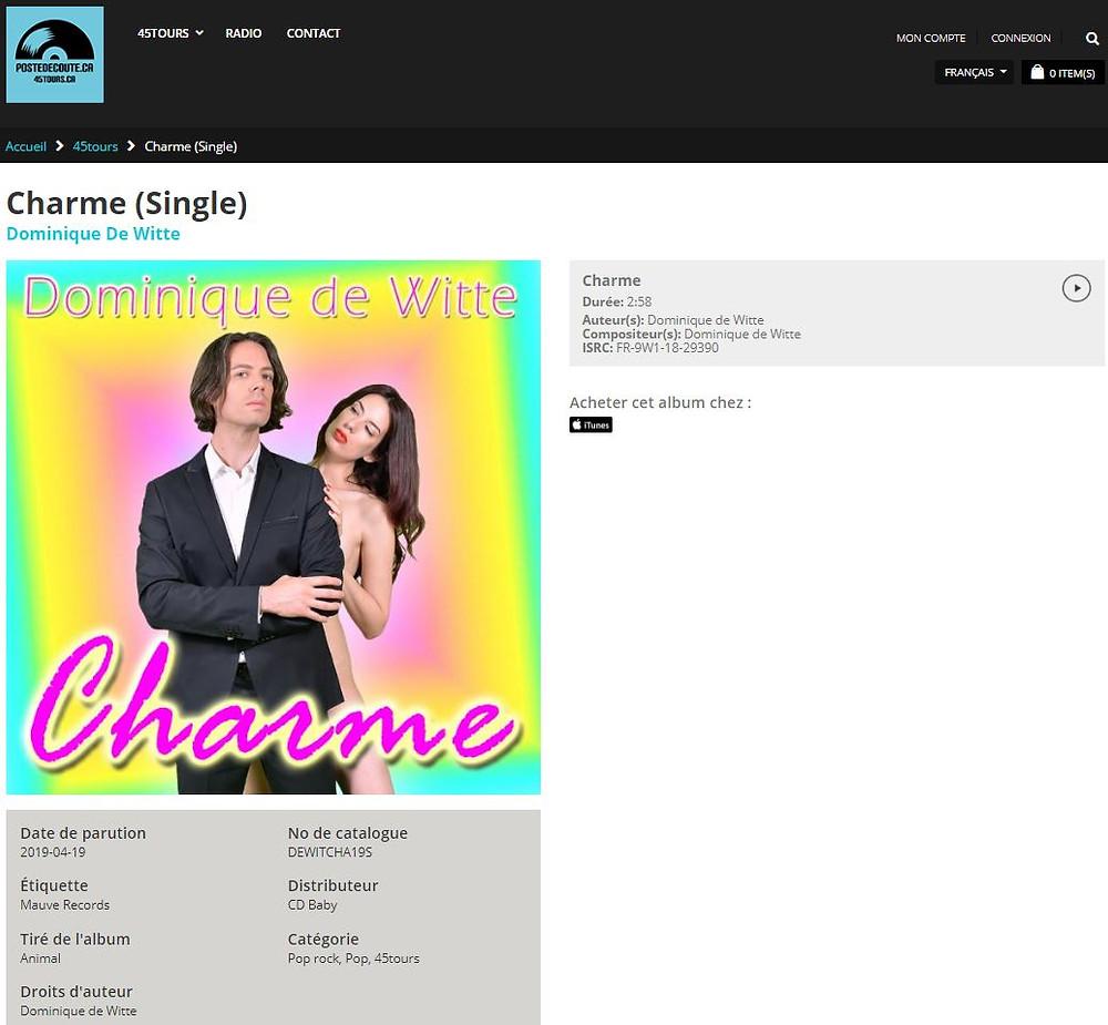 Dominique de Witte - CHARME - SINGLE - Poste d'écoute ca - 45tours ca - RADIO FM