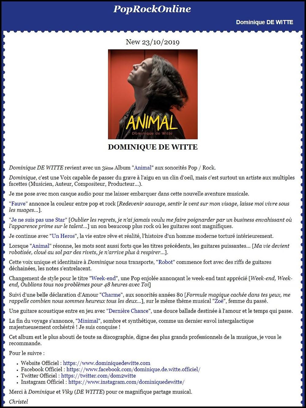 Dominique de Witte - BLOG de Christel Martin POP ROCK ONLINE - PRESSE - 3e album ANIMAL - 23.10.2019