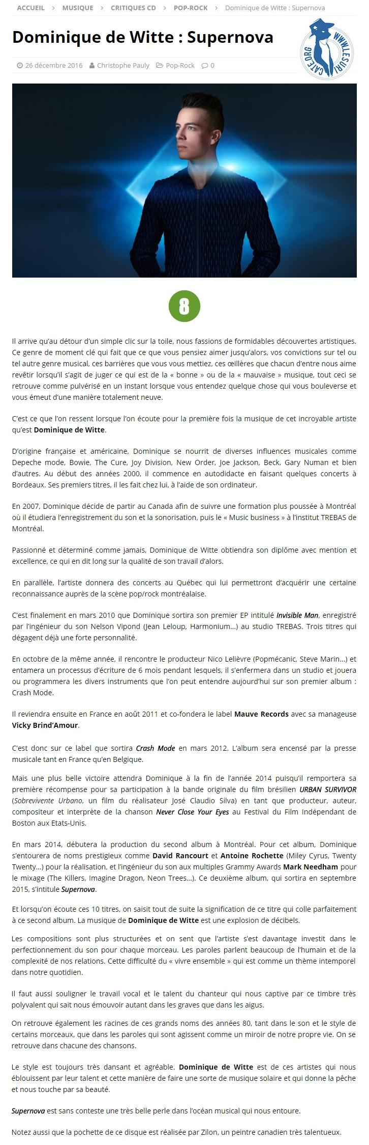 Dominique de Witte - LE SURICATE MAGAZINE - PRESSE - SUPERNOVA - 26.12.2016 - Belgique