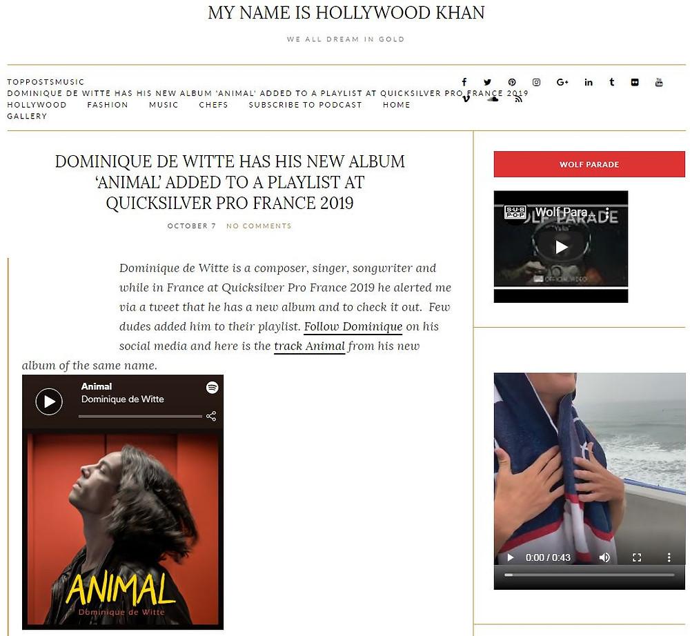 Dominique de Witte - My Name is Hollywood Khan - PRESSE - 7 Octobre 2019 - 3e album ANIMAL