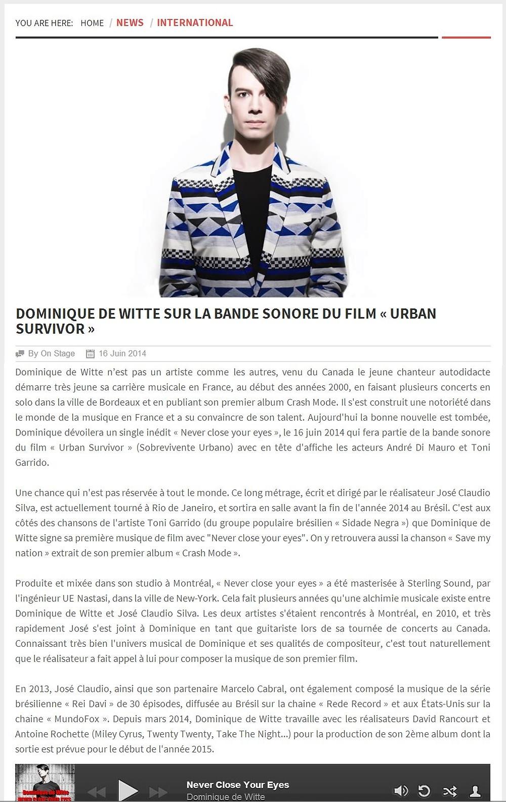Dominique de Witte - ON STAGE MAGAZINE - 16 juin 2014 Luxembourg