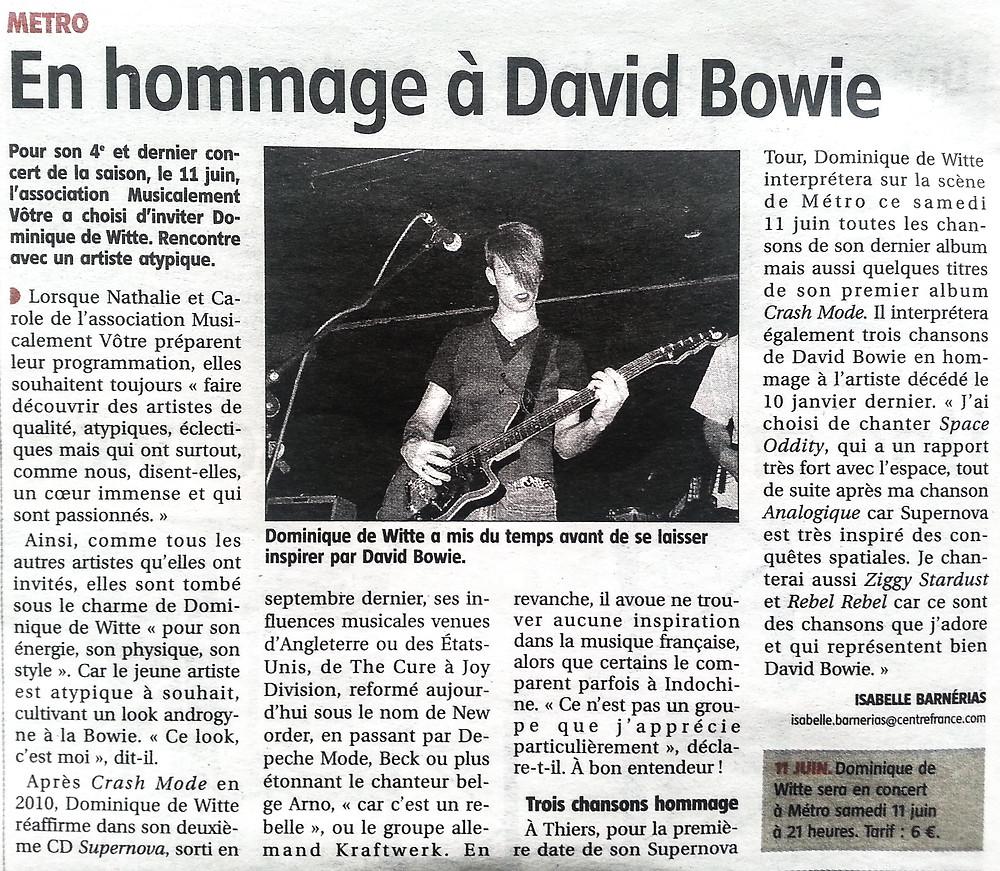 Dominique de Witte - PRESSE - Journal LA GAZETTE (Thiers et d'Ambert  Auvergne) - 9 juin 2016 FRANCE - SUPERNOVA TOUR