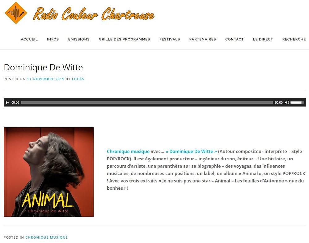 Dominique de Witte - Interview sur RADIO COULEUR CHARTREUSE - 3e album ANIMAL - 6 Novembre 2019