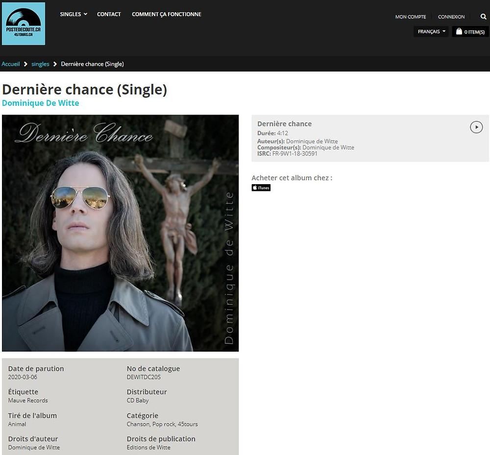 Dominique de Witte - Dernière Chance - Single - Poste d'écoute ca - 45 tours ca - RADIO FM