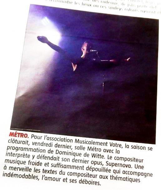 Dominique de Witte - PRESSE - Journal LA GAZETTE (Thiers et d'Ambert  Auvergne) - 17 juin 2016 FRANCE - SUPERNOVA TOUR