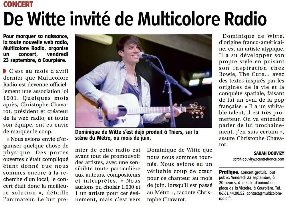 Dominique de Witte - PRESSE - Journal LA GAZETTE (Thiers et d'Ambert  Auvergne) - 22 septembre 2016 - FRANCE