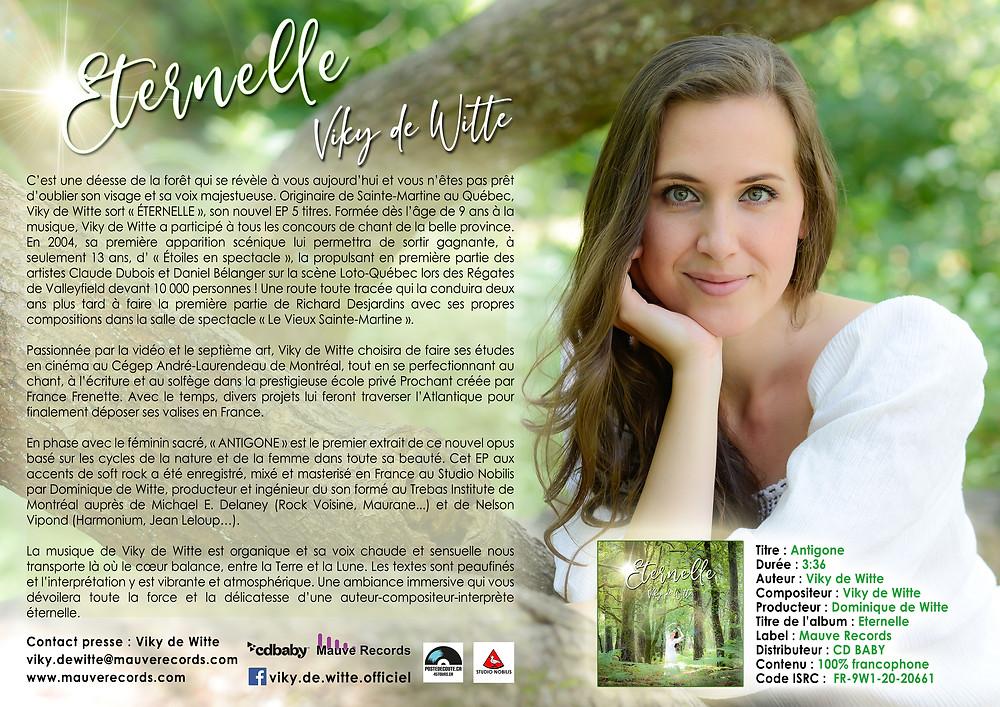 Viky de Witte - Communiqué de presse - Eternelle - EP 5 titres - MAUVE RECORDS - Editions de Witte - Studio Nobilis - Produit par Dominique de Witte