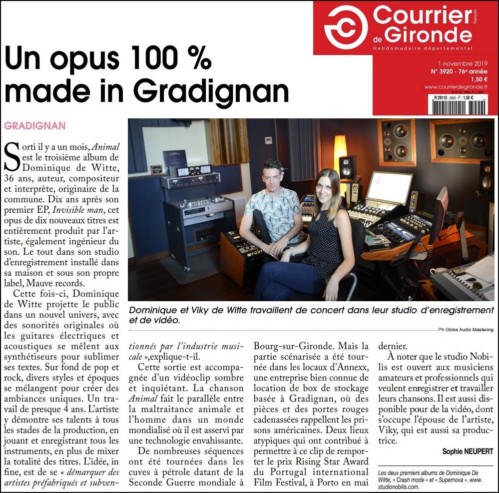 Dominique de Witte - Journal COURRIER DE GIRONDE - 3e album ANIMAL - STUDIO NOBILIS - GLOBE AUDIO MASTERING - PRESSE - 01.11.2019