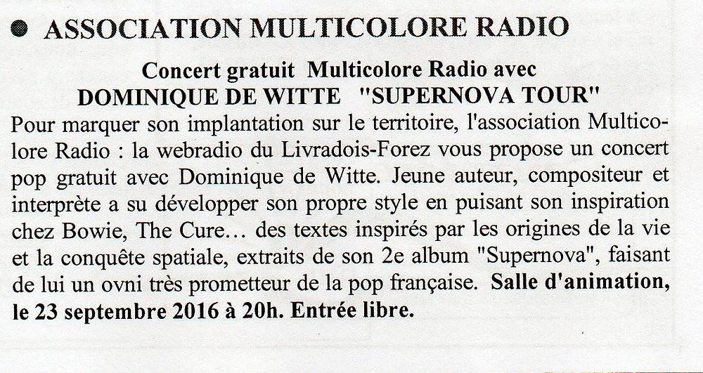 Dominique de Witte - SUPERNOVA TOUR - Multicolore Radio - 15 septembre 2016 - Vivre à Courpière