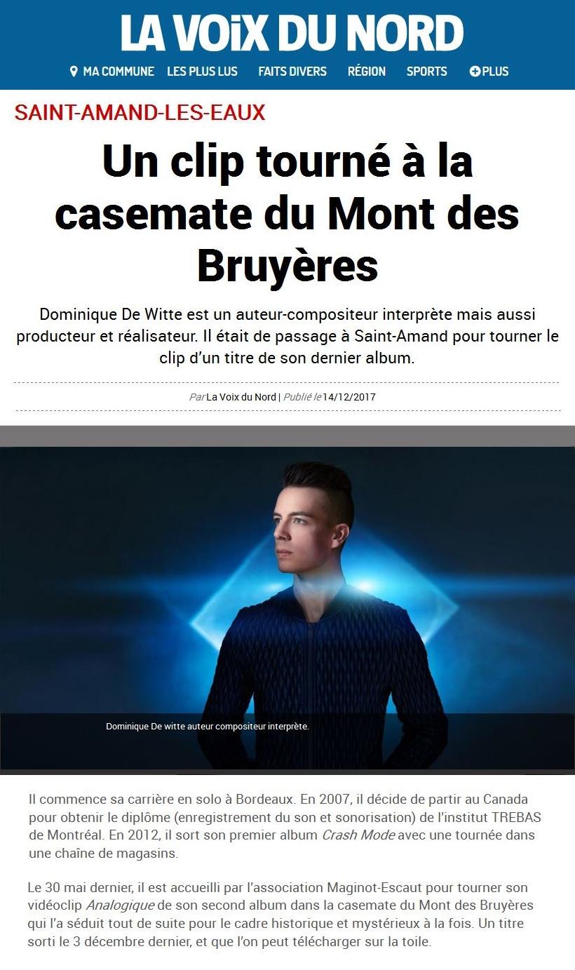 Dominique de Witte - Journal LA VOIX DU NORD - PRESSE - Vidéoclip ANALOGIQUE - 14.12.2017
