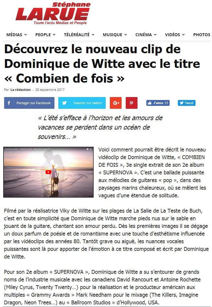Dominique de Witte - vidéoclip - COMBIEN DE FOIS - PRESSE - Stéphane Larue - 28.09.2017