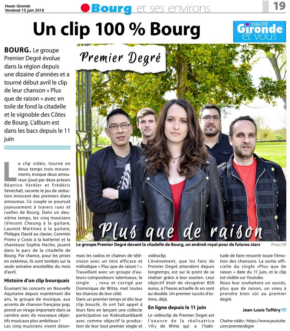 PREMIER DEGRÉ - Journal HAUTE GIRONDE - 15.06.2018