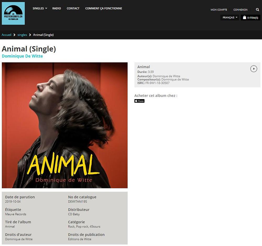 Dominique de Witte - 3e album ANIMAL - Single sur POSTE D'ECOUTE.CA - Mauve Records - RADIOS FM