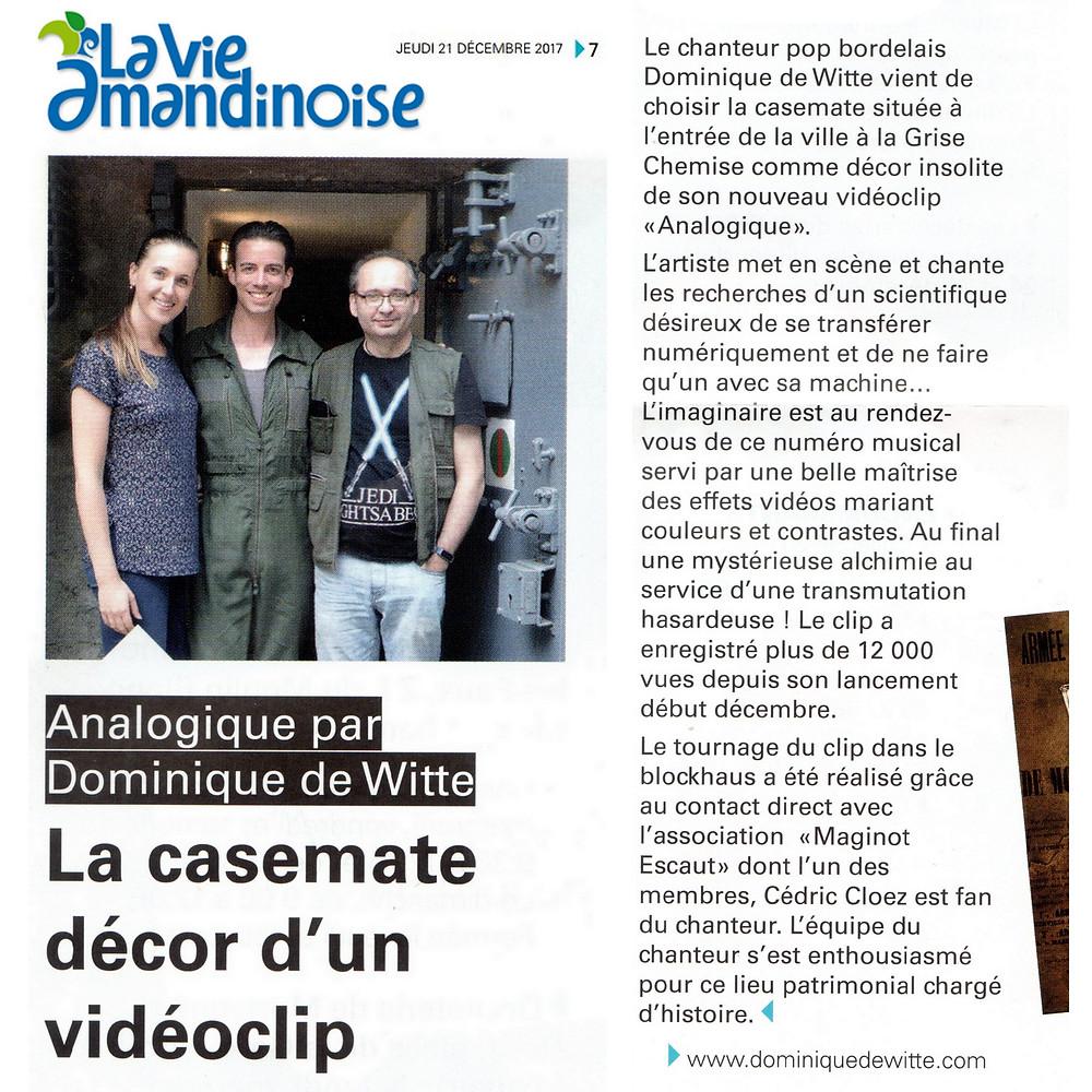 Dominique de Witte - Journal LA VIE AMANDINOISE - PRESSE - Vidéoclip ANALOGIQUE - 21.12.2017