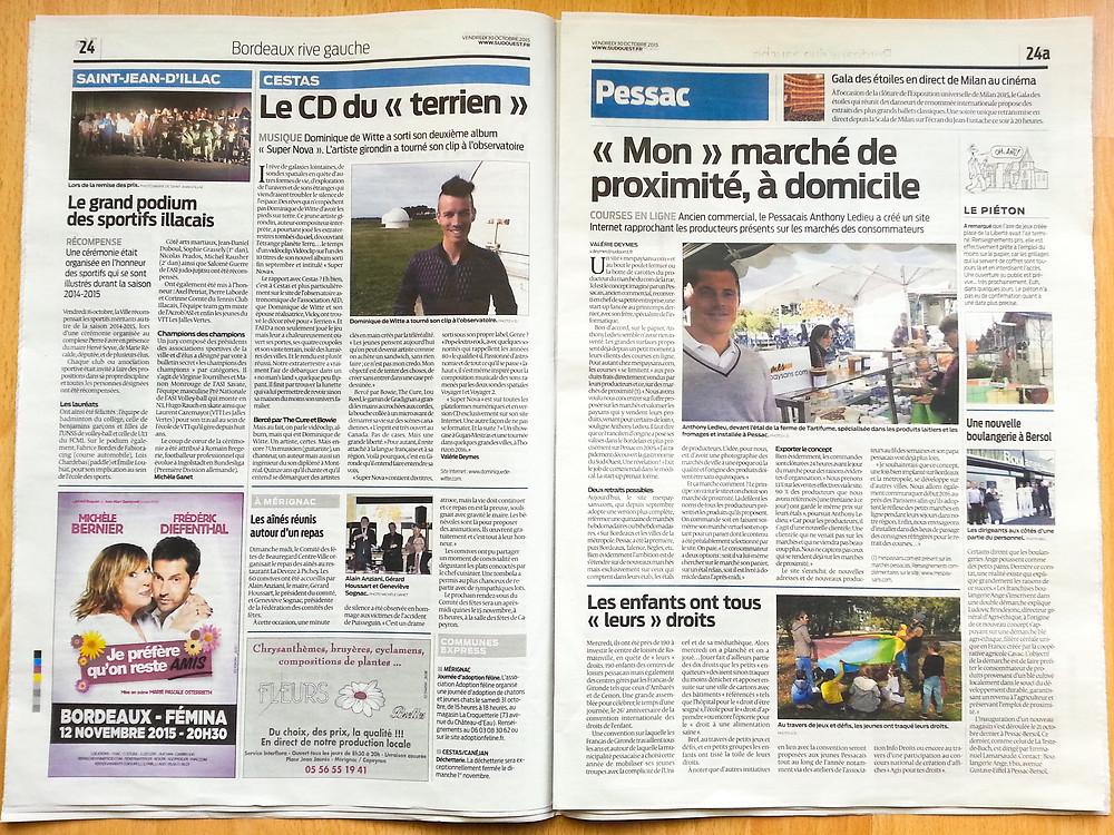 Dominique de Witte - journal SUD OUEST - 30.10.2015 - GRADIGNAN