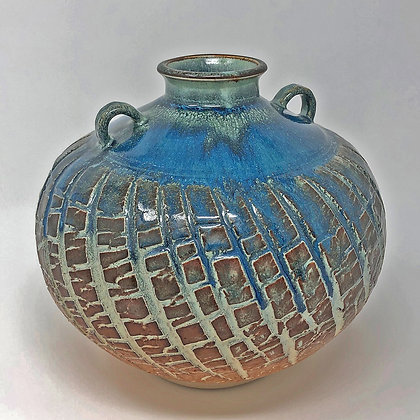 Textured Blue & Brown Vase